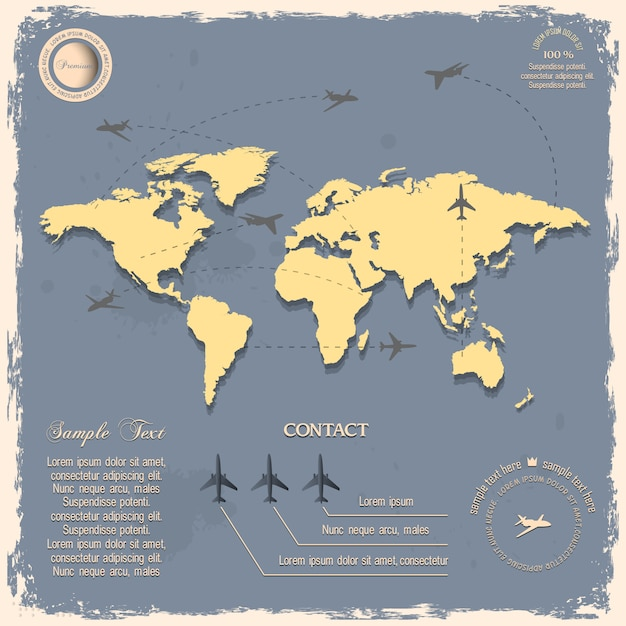 World map with aircrafts for  in vintage style Premium Vector