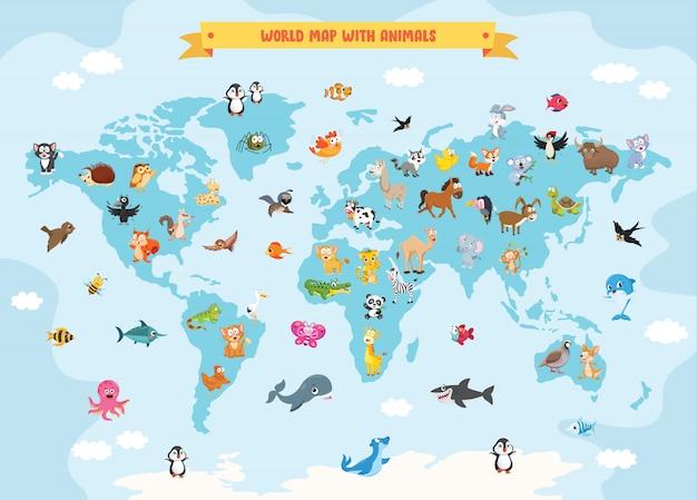 World map with cartoon animals Premium Vector