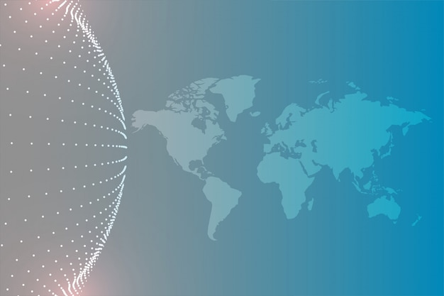World map with circular particles background Free Vector