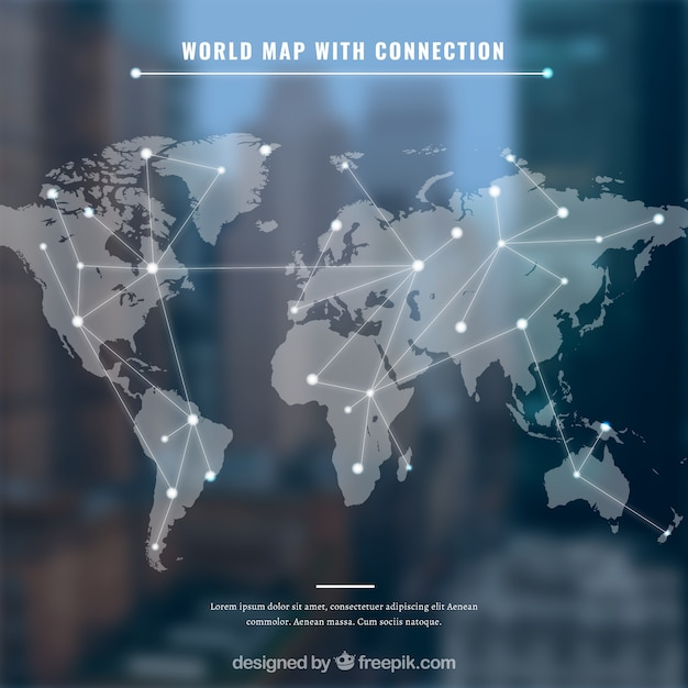 World map with conection and blue background Free Vector
