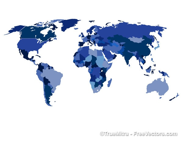 World map with countries in blue