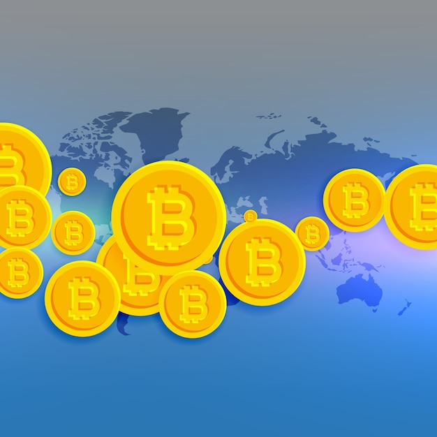 world map with floating bitcoins symbols Free Vector