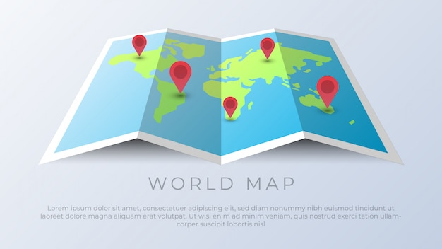 World map with geo location pins Premium Vector