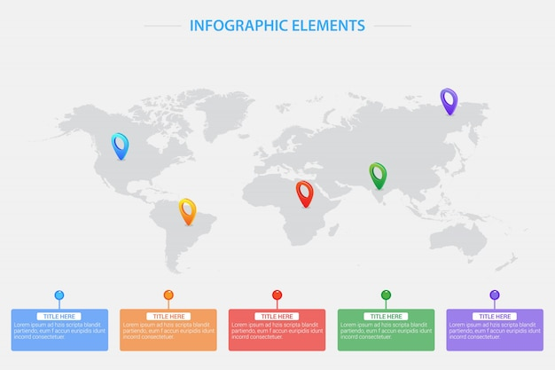 World map with location pointers Premium Vector