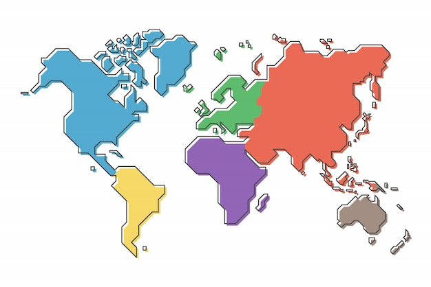 World map with multicolor continent and modern simple ... on map of greek world, map of prehistoric world, map of roman world, map of buddhist world, map of black world, map of clean world, map of political world, map of developed world, map of digital world, map of colonial world, map of western world, map of old world, map of beautiful world, map of once upon a time, map of islamic world, map of medieval world, map of the classical world, map of ancient world, map of rural area, india modern world,