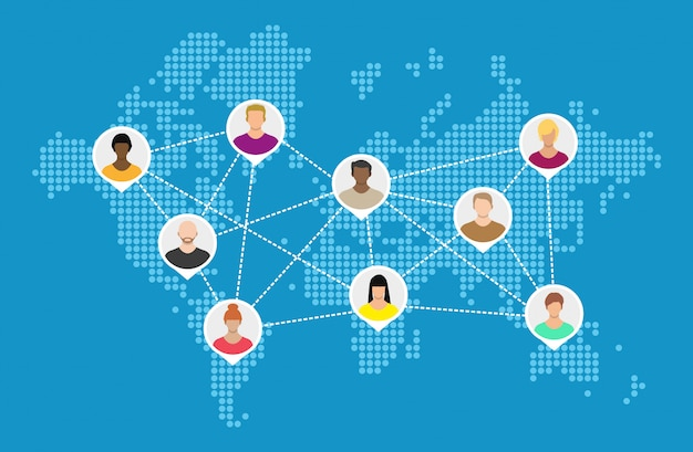 World map with people avatars. social netwroking. Premium Vector