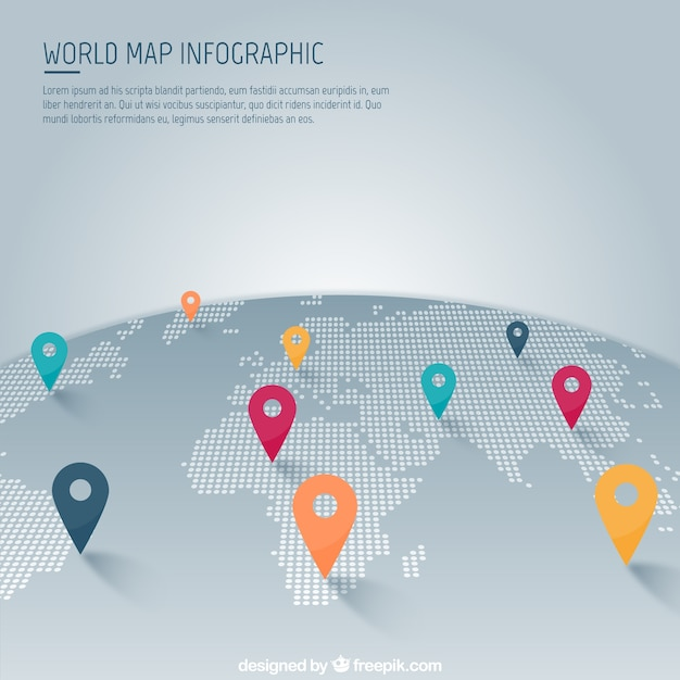 world map with pointer infographic free vector