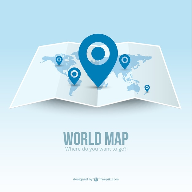 World map with pointers Free Vector