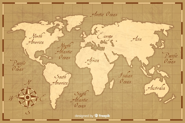 World map with vintage style Free Vector