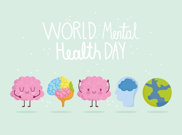 World mental health day, brain characters planet organ head icons card Premium Vector