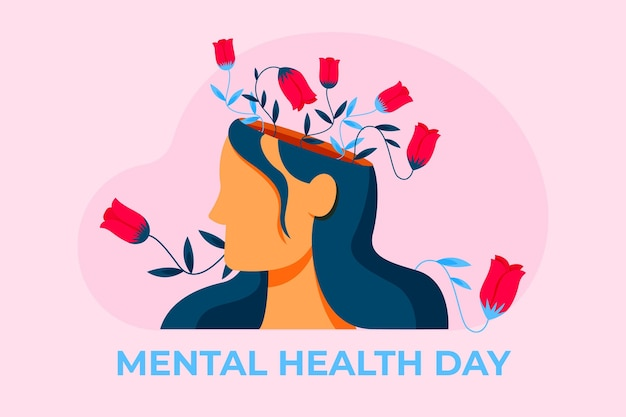 Free Vector World Mental Health Day Flat Illustration