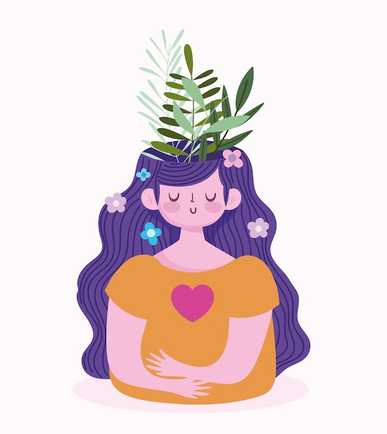 World mental health day, girl with foliage leaves inside brain Premium Vector