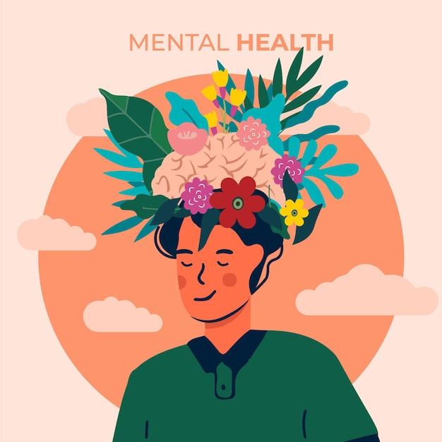 Concetto dell'illustrazione di giornata mondiale della salute mentale Vettore gratuito