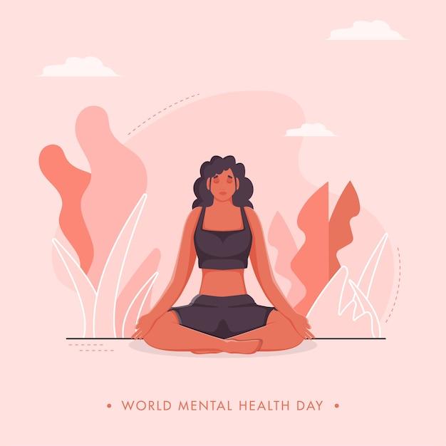 ピンクの自然の背景に瞑想のポーズで若い女性と世界精神保健デーのポスターデザイン。 Premiumベクター