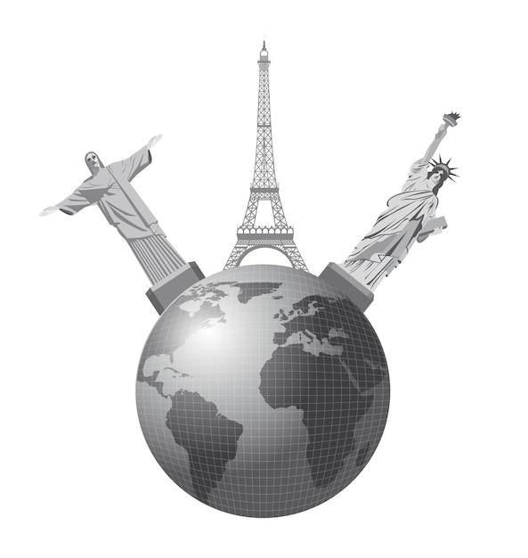 World monuments over white background, vector illustration Premium Vector