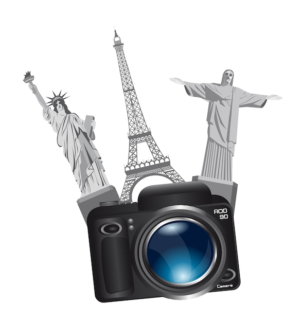 World monuments with camera Premium Vector