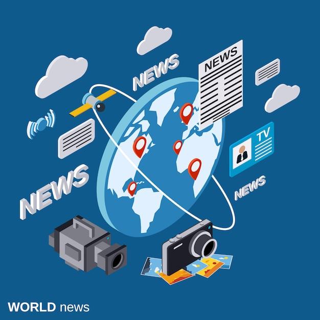 World news flat isometric concept illustration Premium Vector
