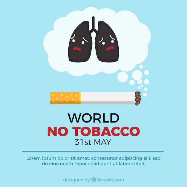 World no tobacco day background with sad\ lungs