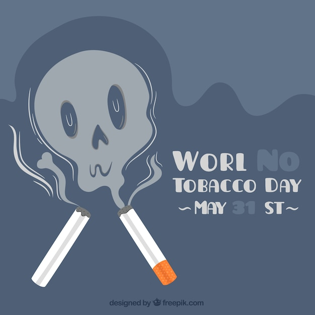 World no tobacco day background with smoke skull Free Vector