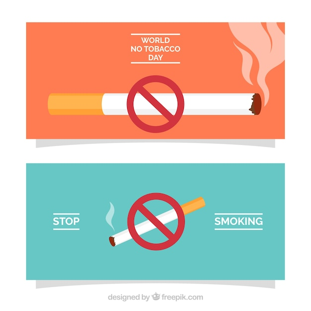 World no tobacco day banner with banning sign Free Vector