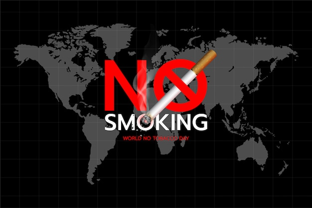 World no tobacco day: concept of no smoking text design on the world map background. Premium Vector