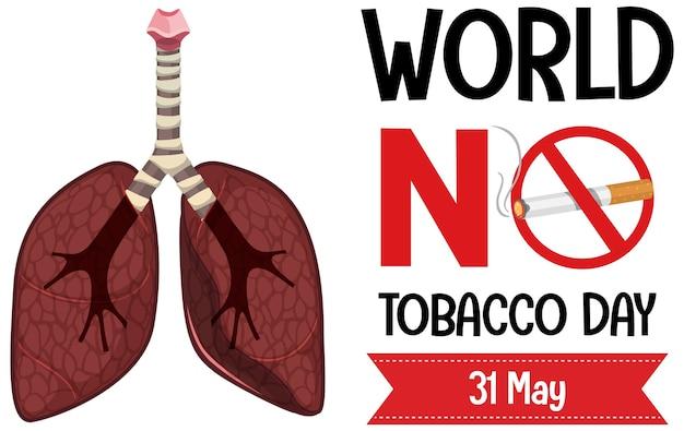Логотип всемирного дня без табака с запретным курением красный знак большие легкие Premium векторы