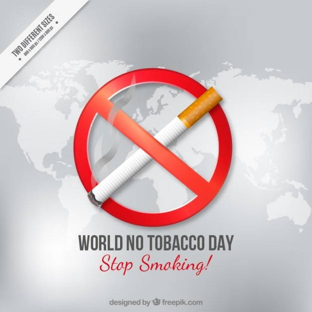 World no tocacco day with a cigarette on a map background Free Vector