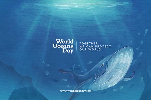 Всемирный день океанов фон Бесплатные векторы