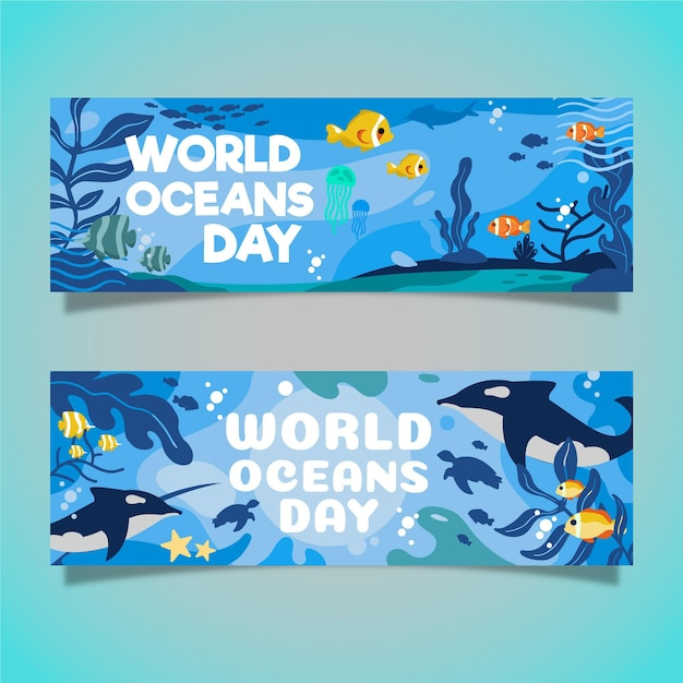 World oceans day banners concept Free Vector