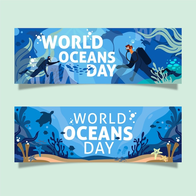 World oceans day banners design Free Vector