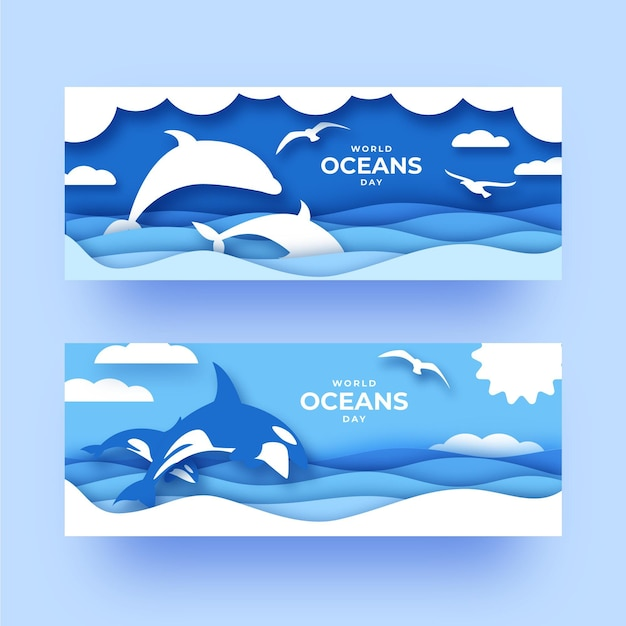 World oceans day banners template Free Vector