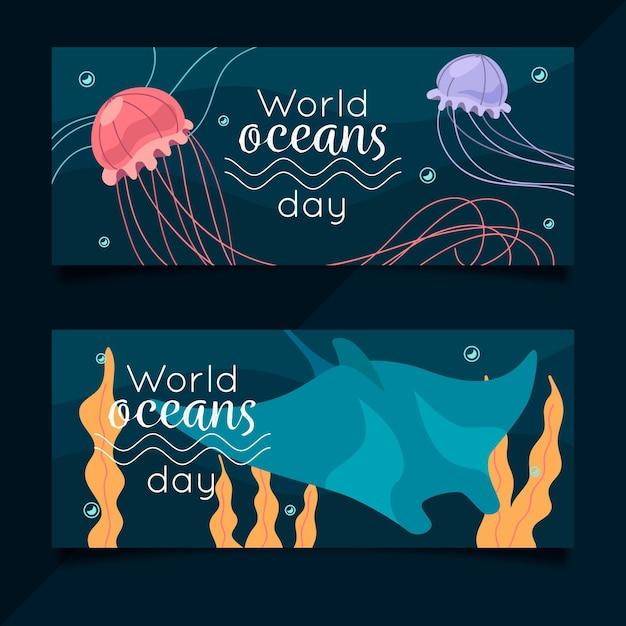 クラゲと世界の海の日バナー 無料ベクター