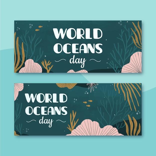 Всемирный день океанов баннеры с морским миром Бесплатные векторы