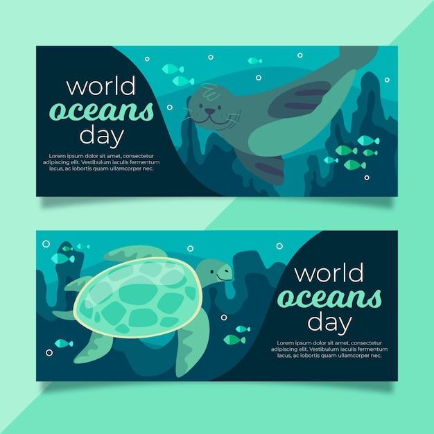 Баннеры всемирного дня океанов с печатью и черепахой Бесплатные векторы