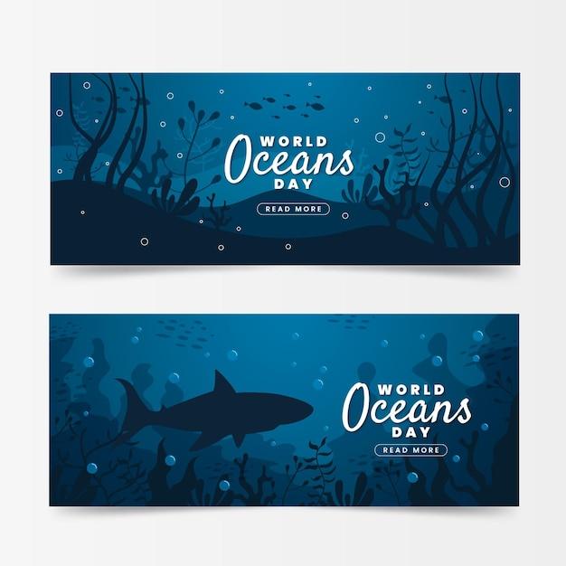 Bandiere di giornata mondiale degli oceani con squalo e vegetazione Vettore gratuito