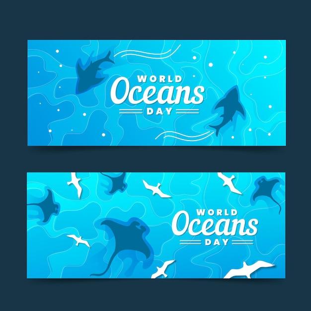 Bandiere di giornata mondiale degli oceani con gli squali Vettore gratuito