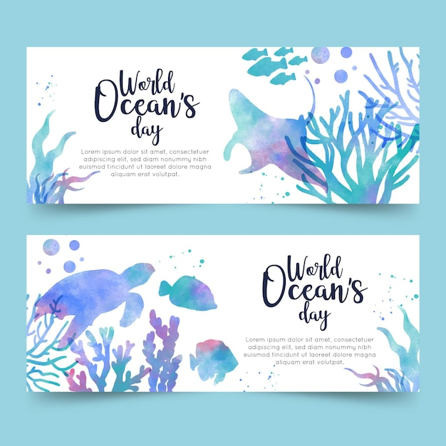 World oceans day banners Free Vector