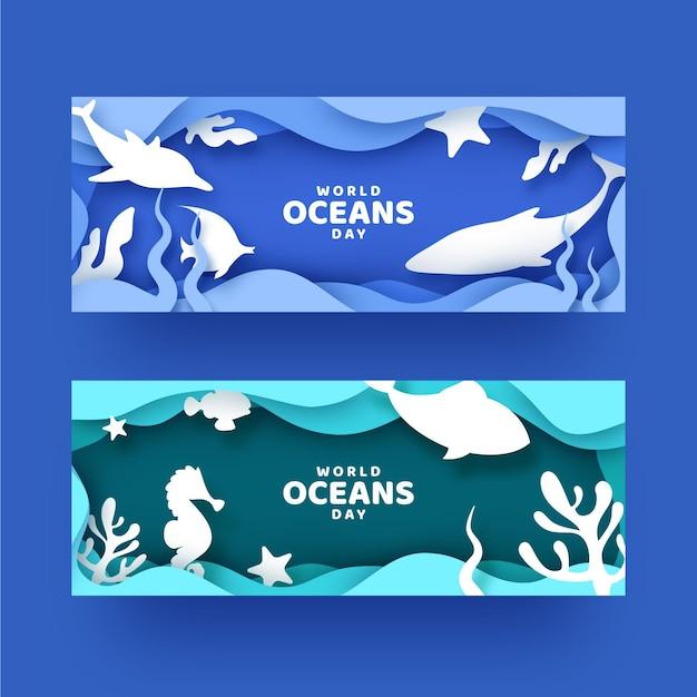 Баннеры всемирного дня океанов Бесплатные векторы