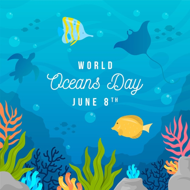 World oceans day concept Free Vector