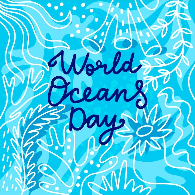 World oceans day drawing design Free Vector