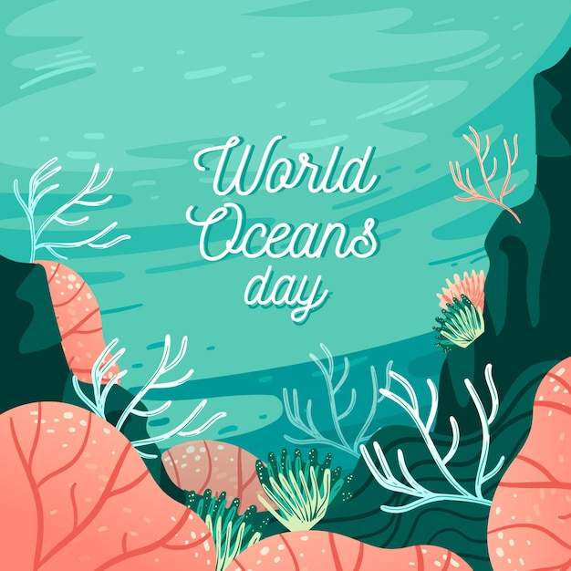 Disegno della giornata mondiale degli oceani Vettore gratuito