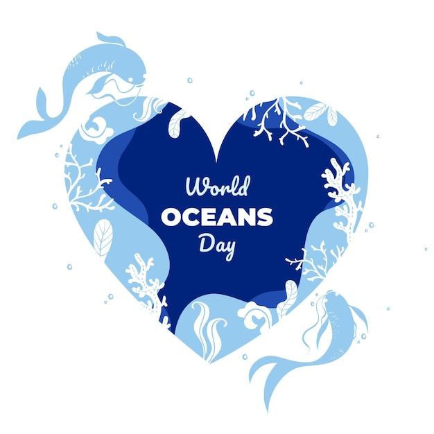 World oceans day event with lettering Free Vector