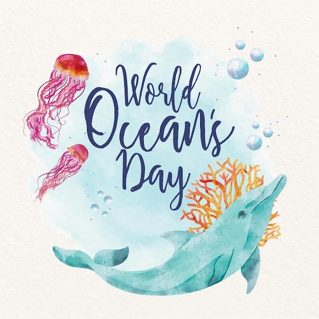 World oceans day illustration Free Vector