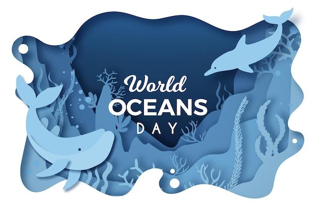 イルカとクジラの紙スタイルの世界海の日 Premiumベクター