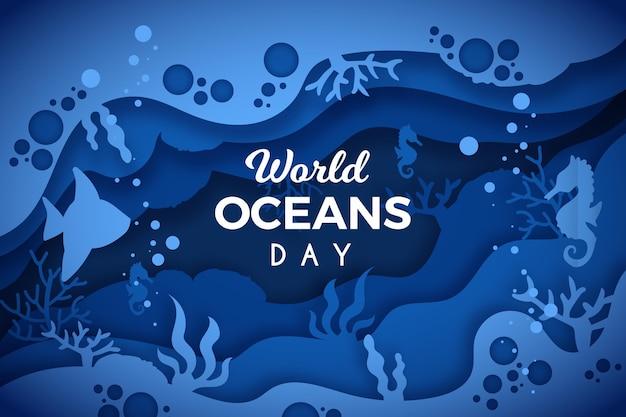 Всемирный день океанов в бумажном стиле с морским коньком Бесплатные векторы