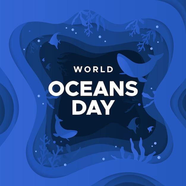 Всемирный день океанов в бумажном стиле Бесплатные векторы