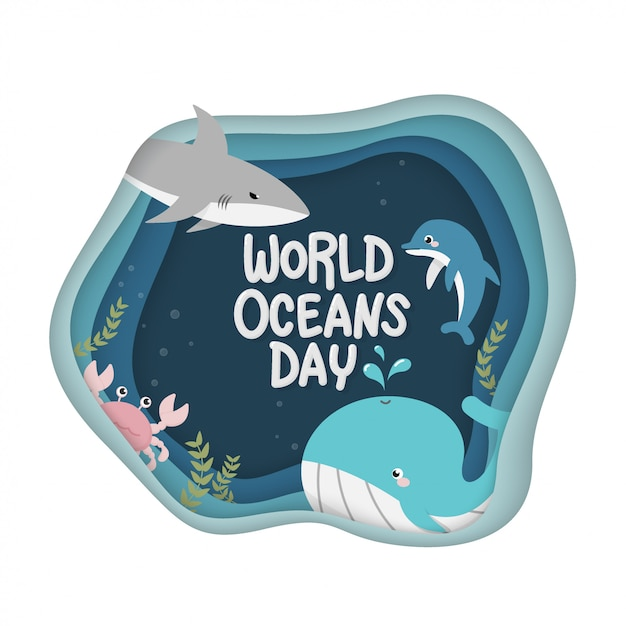 World oceans day. vector of marine life for celebration dedicated to help protect, and conserve world oceans Premium Vector