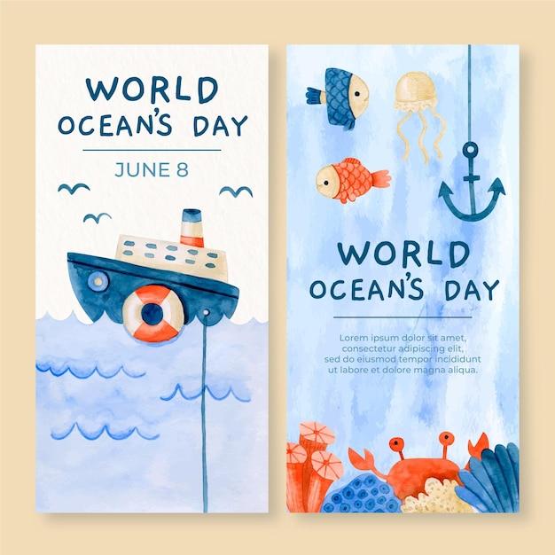 Всемирный день океанов вертикальные баннеры Бесплатные векторы