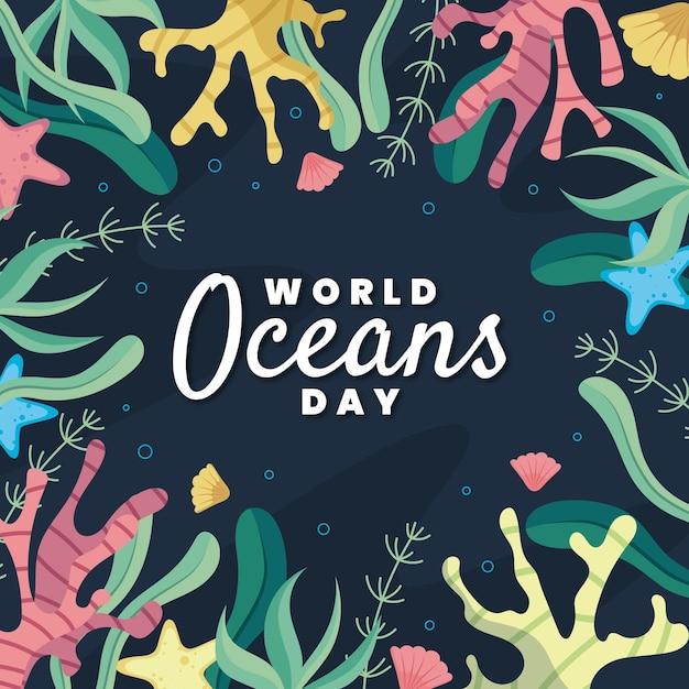 Giornata mondiale degli oceani con coralli e vegetazione Vettore gratuito