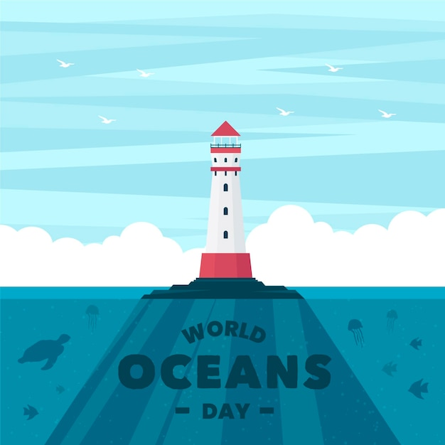World oceans day with lighthouse Free Vector